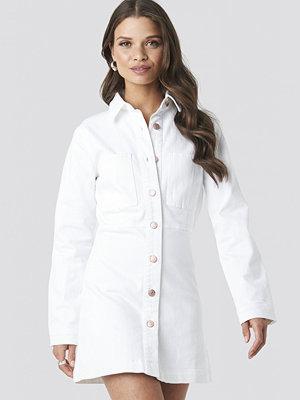 NA-KD Denim Shirt Mini Dress vit
