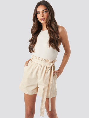 NA-KD Paper Bag Cotton Shorts beige