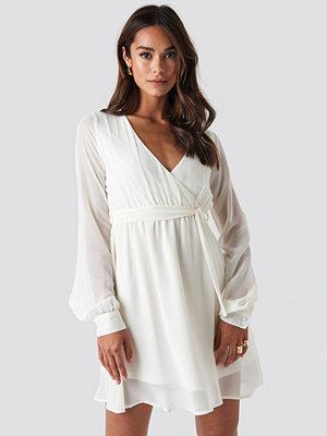 NA-KD Chiffon Wrap Mini Dress beige