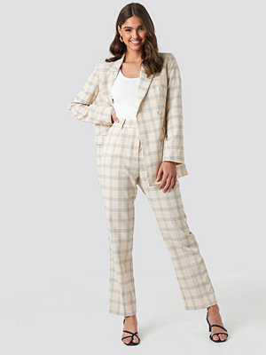 NA-KD Classic rutiga byxor Light Checkered Suit Pants beige