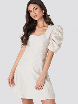 NA-KD Trend Square Neckline Puff Sleeve Mini Dress beige