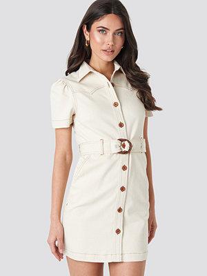 NA-KD Trend Puff Sleeve Western Denim Dress beige