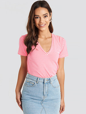 Trendyol V-Neck Striped Tee rosa