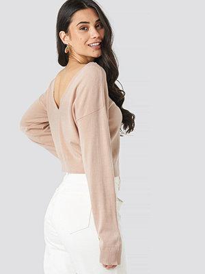 NA-KD Back V-neck Cropped Sweater rosa