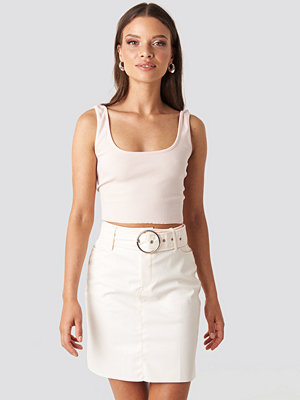 NA-KD Party Faux Leather Belted Mini Skirt beige