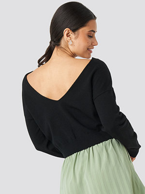 NA-KD Back V-neck Cropped Sweater svart