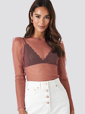 NA-KD Trend Mesh Puff Sleeve Top rosa