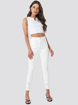 NA-KD Chewed Hem Skinny Cropped Jeans vit