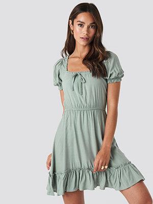 NA-KD Boho Puff Sleeve Mini Dress grön
