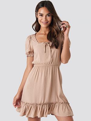 NA-KD Boho Puff Sleeve Mini Dress beige