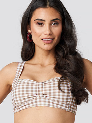 NA-KD Swimwear Gathered Front Bikini Top brun