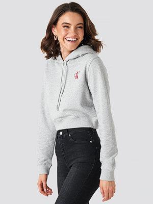 Calvin Klein Monogram Embroidery Hoodie grå