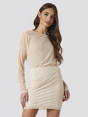 NA-KD Party Glitter Detail Mini Dress beige