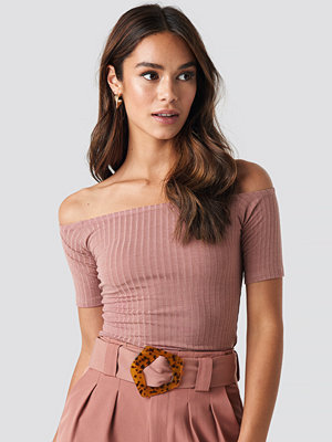 NA-KD Basic Off Shoulder Ribbed Top rosa