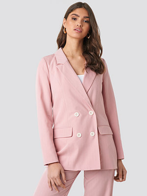 NA-KD Classic Pinstriped Double Breasted Blazer rosa