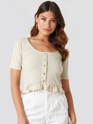 Skjortor - Trendyol Tip Frilly Blouse beige