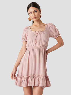 NA-KD Boho Puff Sleeve Mini Dress rosa