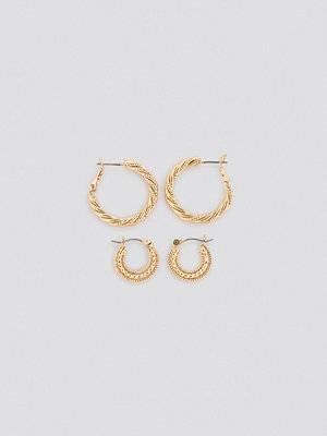 NA-KD Accessories smycke Double Pack Textured Braided Hoops guld