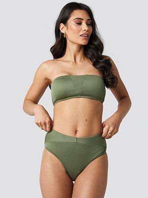 Hannalicious x NA-KD Ribbed Folded Bikini Pantie grön