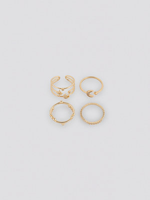 NA-KD Accessories smycke Moon Star Multipack Rings guld