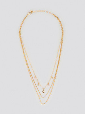NA-KD Accessories smycke Mini Moon Star Layered Necklace guld