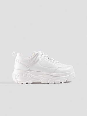 NA-KD Shoes Embossed Chunky Platform Trainers vit