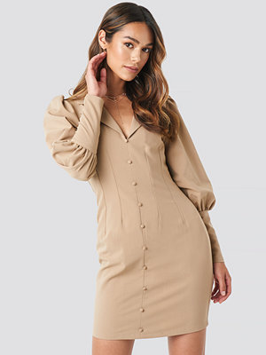 NA-KD Trend Button Front Mini Dress beige