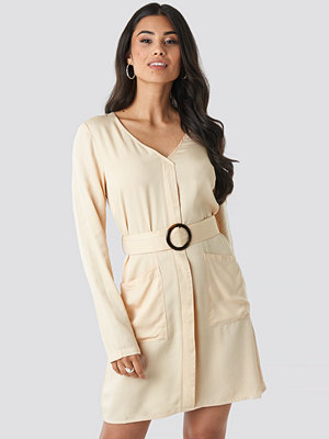 NA-KD Belted Long Sleeve Dress beige