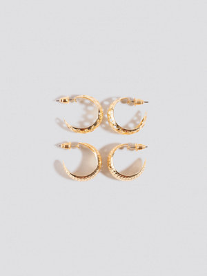 NA-KD Accessories smycke Double Pack Small Patterned Hoops guld