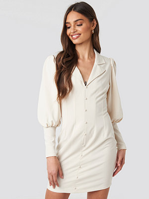 NA-KD Trend Button Front Mini Dress nude