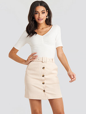 NA-KD Classic Belted Mini Skirt beige