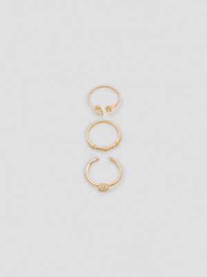 NA-KD Accessories smycke Sparkling Blossom Multipack Rings guld