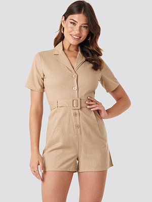 Jumpsuits & playsuits - NA-KD Belted Playsuit beige