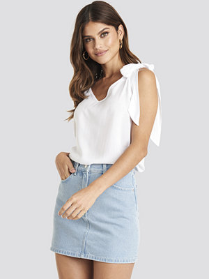 NA-KD High Waist Denim Mini Skirt blå