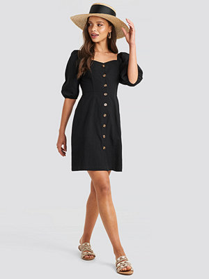 NA-KD Boho Puff Sleeve Cotton Mini Dress svart