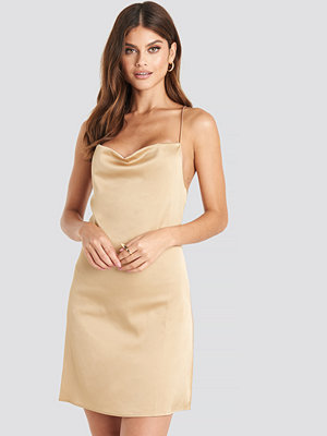 NA-KD Party Satin Waterfall Mini Dress beige