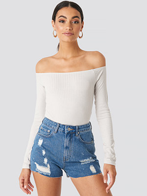 NA-KD Destroyed High Waist Denim Shorts blå