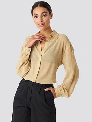NA-KD Classic Sheer Wrinkle Effect Blouse beige