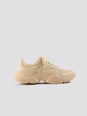 NA-KD Shoes Sporty Mixed Upper Trainers nude