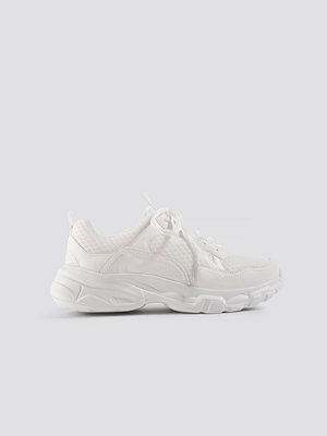 NA-KD Shoes Faux Suede Mesh Trainers vit