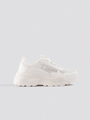 NA-KD Shoes Mesh Mix Chunky Trainers vit