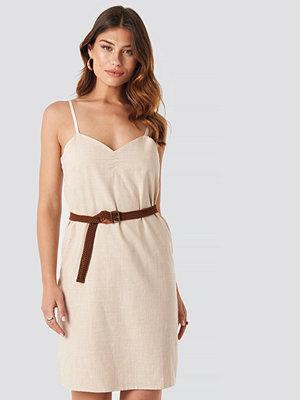 Trendyol Strap Linen Mini Dress beige