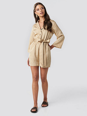 NA-KD Striped Playsuit beige