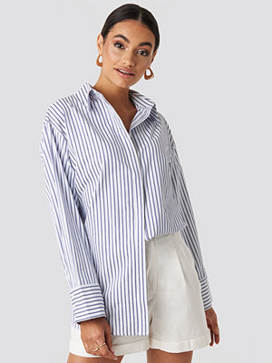 NA-KD Classic Maxi Oversized Striped Shirt blå multicolor