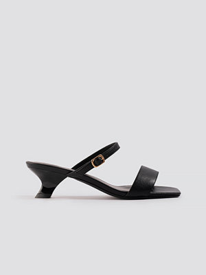 Pumps & klackskor - NA-KD Shoes Asymmetric Heel Squared Sandals svart
