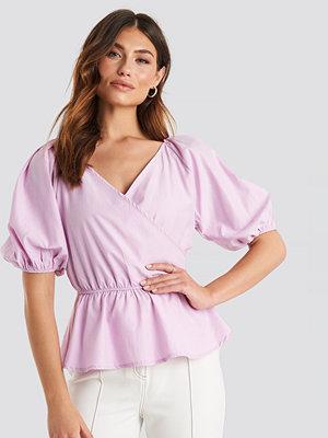 NA-KD Trend V Neck Wrap Over Elastic Waist Blouse rosa