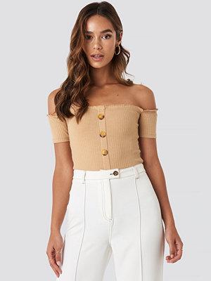 Trendyol Off Shoulder Button Detailed Top beige
