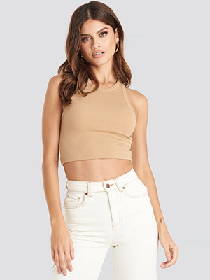 NA-KD Trend Cropped Ribbed Top beige