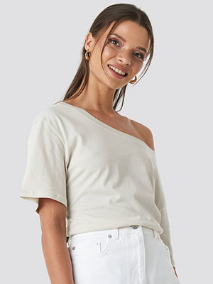 NA-KD One Shoulder T-shirt beige
