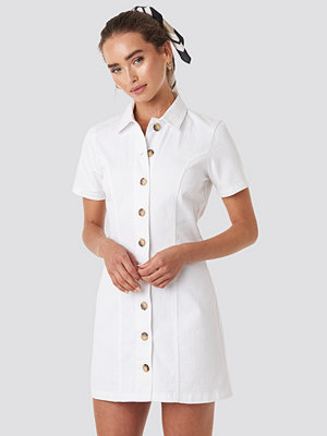 NA-KD Button Up Denim Mini Dress vit